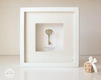 Personalized Wedding gift - Bronze Anniversary gift customized -  heart key antique bronze - Art frame - framed under glass