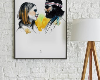 Margot & Richie Tenenbaum Poster - Wes Anderson - The Royal Tenenbaums - Print Art Wall art Movie Lovers Illustration Graphic Design Art