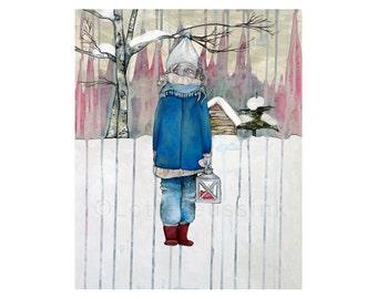 Folk illustration, Christmas art card, melancholic winter girl, prints illustrations, Finnish landscape painting, pop surrealism fairytale