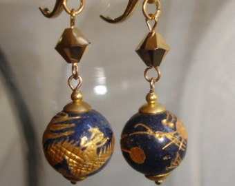 Blue and gold dragon earrings