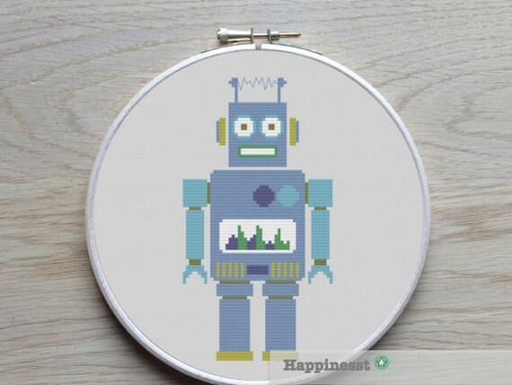 cross stitch pattern robot, modern cross stitch, PDF,  ** instant download**