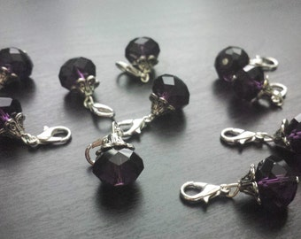 Purple Crystal Dangle/Charm for Floating Lockets, Necklace, or Bracelets-Deep Purple--Gift Idea