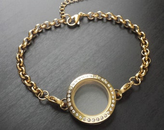 Gold Floating Locket Bracelet-25mm-Memory Locket-Stainless Steel-Czech Crystals-Chain Included-Gift Idea for Women