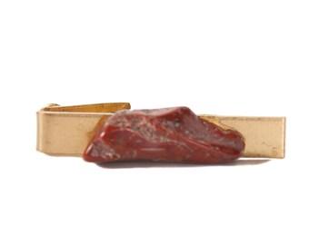 Stone Tie Clip / Skinny Tie Clip / Gold Mens Tie Clip / Vintage Gold Tie Clip / Mid Century / Old Tie Clip / Small Tie Clip Antique