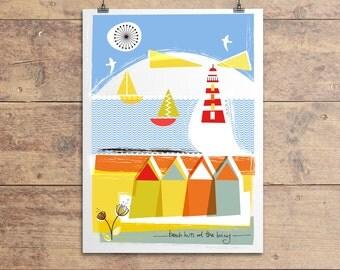 Beach Huts At The Briny Print, Nautical Print, Seaside Print, Coastal Print, Beach Hut Print