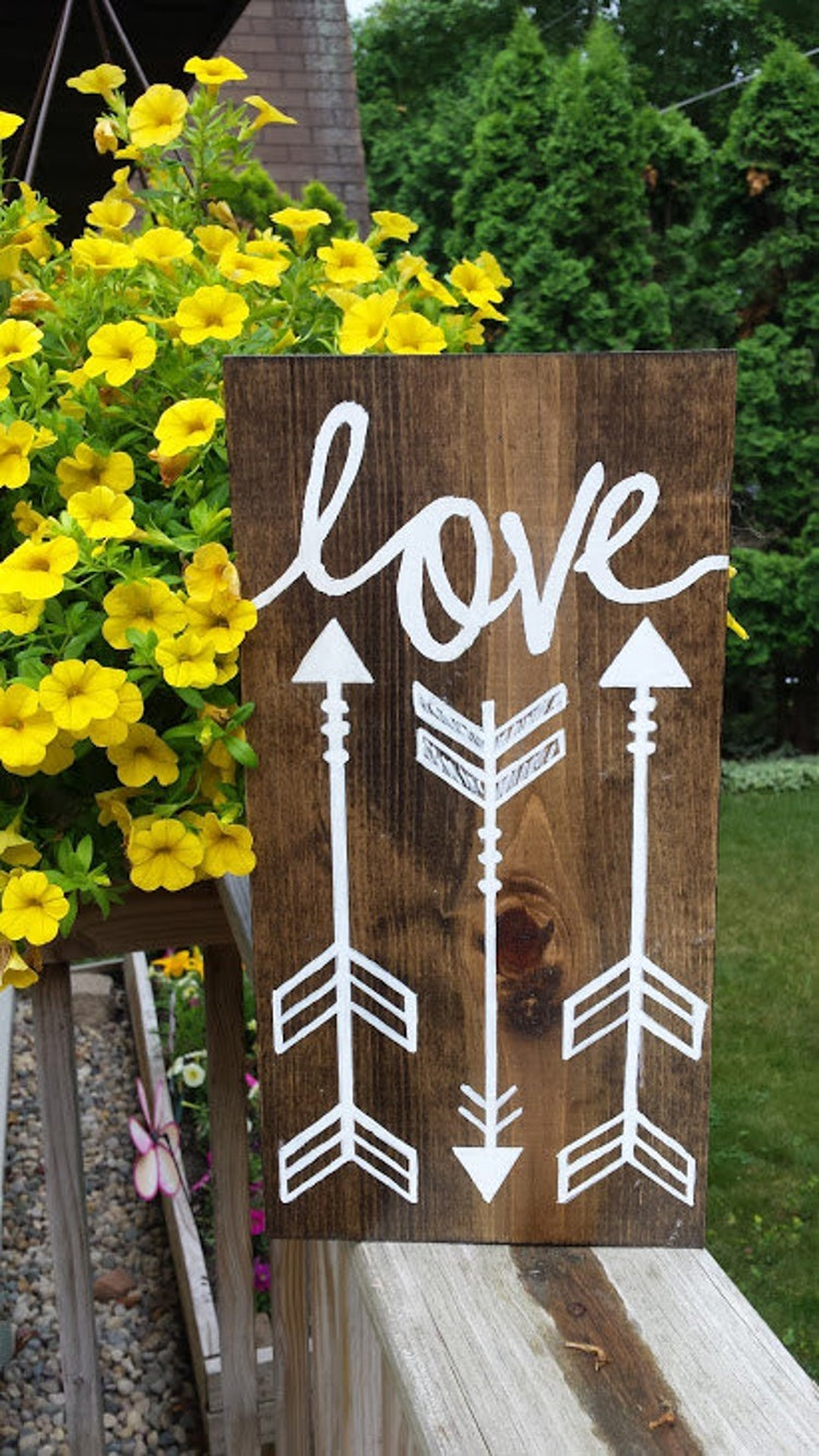 Love with arrows sign hanging wooden arrow sign by for Love sign