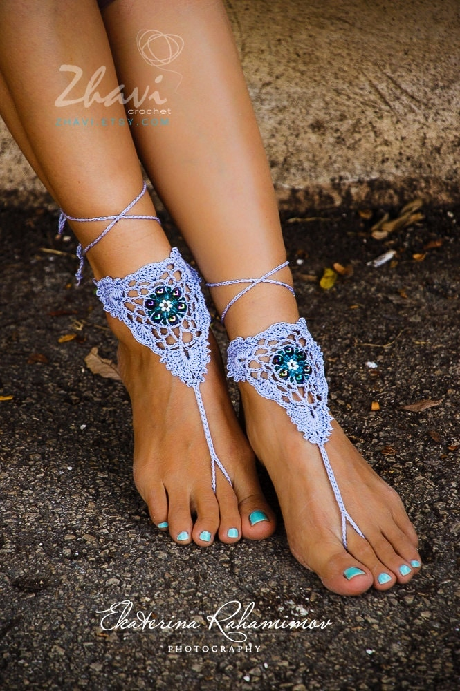 light blue beaded crochet barefoot sandals wedding