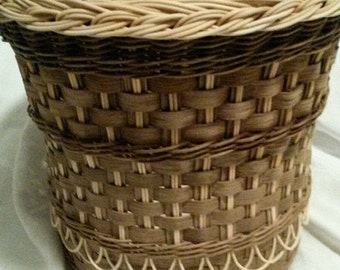 """Fancy Wastebasket with distinctive brown (""""smoked"""") reed"""