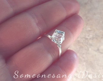 Engagement Ring, Square Ring, Solitaire Ring, Bridal Ring, Classic Engagment, Modern, Promise Ring, Wedding Ring, Statement, Silver Ring