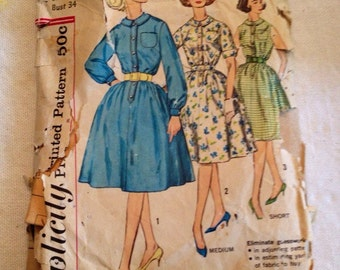 1961 Simplicity pattern 3870 Misses size 14 Dress