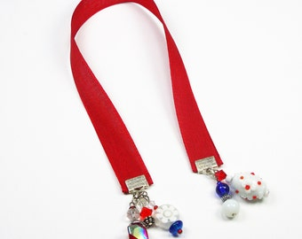 Solid Red Ribbon Bookmark - Beaded Bookmarks - Accessory Gift for Reades