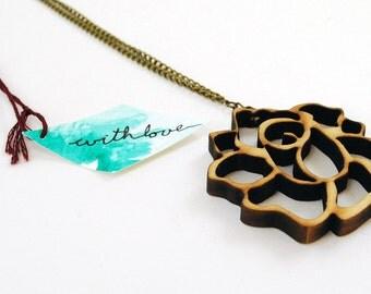 Rosie Wooden Laser Cut Necklace