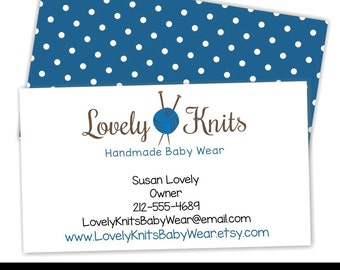 Premade Business Card, Knitting Business Card, Custom Business Cards, Yarn, Knitting Needles