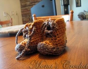 Hand Crocheted Brown Baby Boy Workboot Booties | Baby Booties | Baby Workboots | Baby Shower Gift - Size Newborn to 3 Months