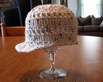 Hand Crocheted Newsboy Style Tan Baby Hat | Baby Hat | Newsboy Hat | Baby Shower Gift - Size 3 to 6 Months