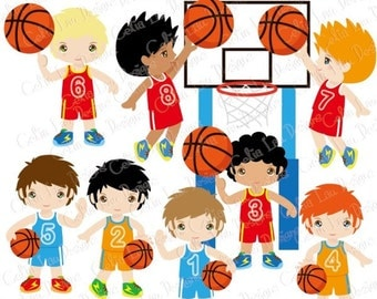 Basketball Clipart / Basketball Birthday Party clip art / sport party clip art / basketball invitation clipart / INSTANT DOWNLOAD (CG151)