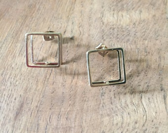 3D Square Studs in Gold Plating