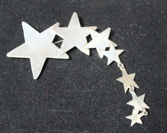 Vintage, Sterling Silver, Cascading Star Pin
