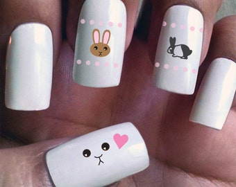 Bunny Love - Water Slide Nail Decals