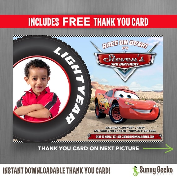 Disney Cars 7x5 in Birthday Party Invitation with FREE editable – Disney Cars Birthday Cards