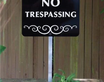 NO TRESPASSING Yard Sign with attached yard stake. Ships FREE (66005)