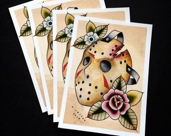 Friday the 13th Jason Voorhees Flash Print by Michelle Coffee
