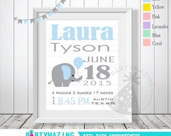 Baby Boy Elephant Birth Announcement, Baby Blue Nursery Baby Announcement, Printable Wall Art  D371