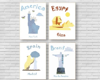38,Oh, the places you'll go, dr seuss, kids wall art, baby boy room decor, blue nursery, America, Spain, Brazil, Egypt, nursery wall art