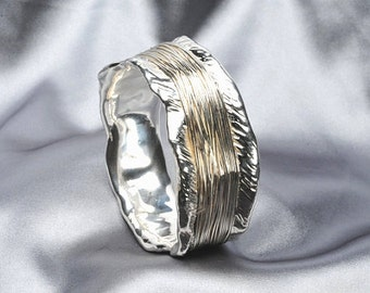 Statement bracelet - wide silver bangle - 925 sterling silver bracelet