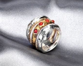 Coral stone ring- silver and gold statement ring - Mixed metal and stone ring