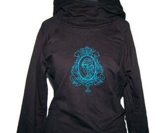 Gothic Raglan Hoodie - Cameo Lady skull Gr.M - Black-petrol