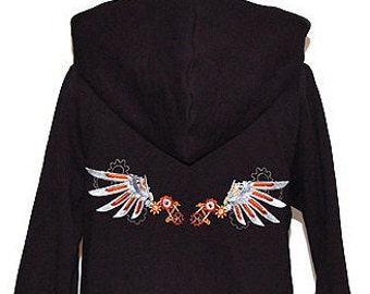 Steampunk hoodie with Wing embroidery on back - size L - black