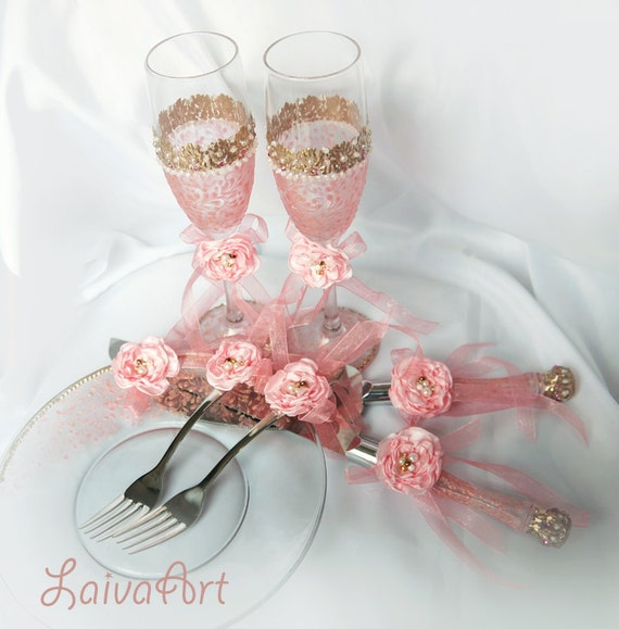 Wedding Cake Server Set Champagne Flutes Pink By LaivaArt