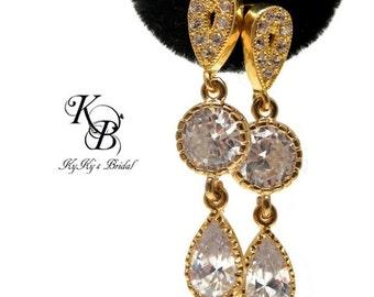 Wedding Jewelry, Bridal Earrings, Gold Earrings, Elegant Earrings, Cubic Zirconia Earrings, Teardrop Earrings, Bridal Jewelry, Wedding
