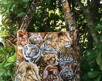Lions, Jaguars, Tigers Fabric Purse, Handbag, Shoulder Bag, Diaper Bag, Gifts, Lunch Bag, Bag for Toys, Tote Bag