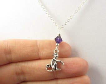 Monkey Necklace- choose a color, Monkey Jewelry, Monkey Gifts, Small Monkey Necklace, Monkey Charm, Animal Necklace, Monkey Pendant