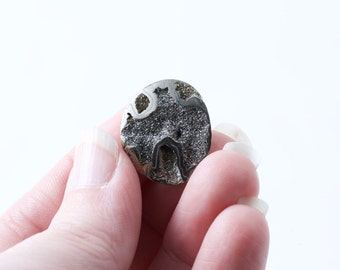 Pyritized Ammonite fossil cabochon natural druzy cut on angle to reveal internet caverns OOAK stunning pyrite fossil cab thin 22mm