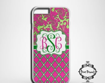 Pink and Green Damask Personalized Case, iPhone 4 Case, iPhone 4s Case, iPhone 5 Case, iPhone 5s Case, iPhone 5c Case, iPhone 6 Case #154