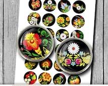 "Russian Folk Art 1"" 25mm 30mm 1.5"" Printable Circle Bottle cap images Cabochon Digital Collage Sheet - Instant Download"