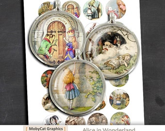 Alice in Wonderland 40mm 25mm  1 inch 30mm 1.5 inch Printable JPGs Digital Collage Sheet Instant Download