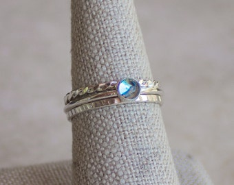 November Birthstone, Blue Topaz Stacking Ring 4mm, Silver Ring, Blue Topaz Ring, Engagement Ring