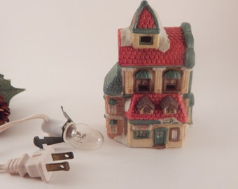 Light Up House Hotel and Cafe Figurine Hand Painted Porcelain Christmas Village Accessory Vintage LR 1993 Collectible Winter Home Decor
