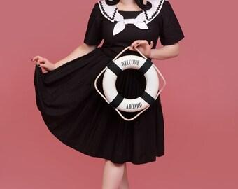50s Pin Up Pinup Rockabilly Retro Sailor Dress Nautical Sundress Dress  Custom Made including Plus Size Made to Measure