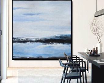 Large Abstract Painting Canvas Art, Landscape Painting On Canvas, Acrylic Painting Wall Art. Hand Made. Black White Blue.