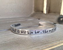 God Is Within Her, She Will Not Fail Psalm 46:5 Bible Verse Bracelet Scripture Bracelet Hand Stamped Aluminum Brass Copper Cuff Bracelet