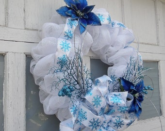 """24"""" White Mesh Wreath,  Christmas Door Wreath, Winter Decoration, Front Door Mesh Wreath, Large Wreath"""