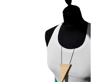 Statement triangol necklace ,  handmade - reclaimed wood