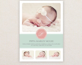 Girls Photo Birth Announcement. Mint and Pink. I Customize, You Print.