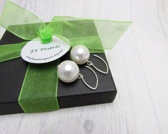 Large Pearl Earrings, Bridal Earrings, Huge Pearl Drops, Giant Pearl Drops