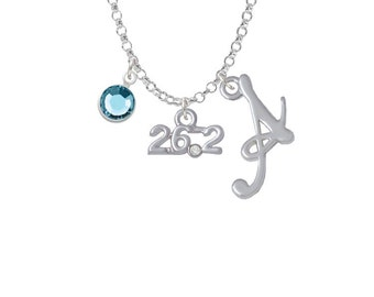 Marathon - 26.2 Charm Necklace - Personalized Initial Jewelry with Crystal - Running Jewelry NC-Channel-C4975-SmGelato-F2301